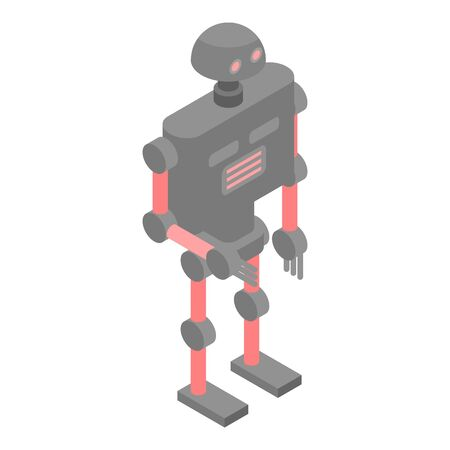 Red grey robot icon, isometric style