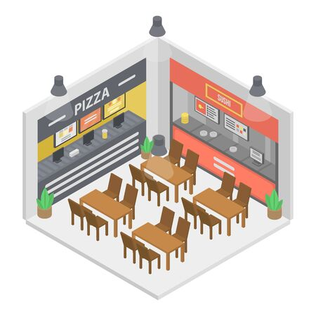 Fast food restaurant room icon, isometric style