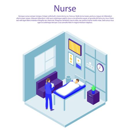 Nurse concept banner. Isometric illustration of nurse vector concept banner for web design Иллюстрация