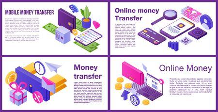 Money transfer banner set. Isometric set of Money transfer vector banner for web design