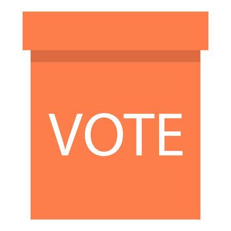 Wood ballot box icon, flat style