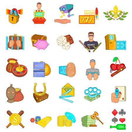 Casino scammer icons set, cartoon style Фото со стока - 129887230