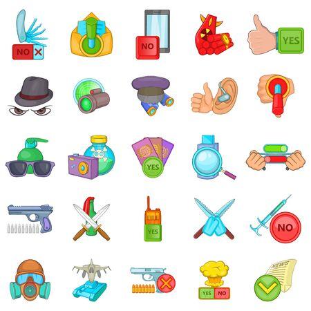Felon icons set, cartoon style
