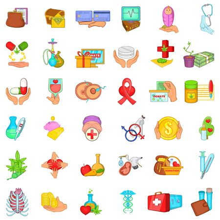 Health donate icons set. Cartoon set of 36 health donate vector icons for web isolated on white background