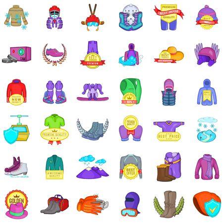 Winter stuff icons set, cartoon style