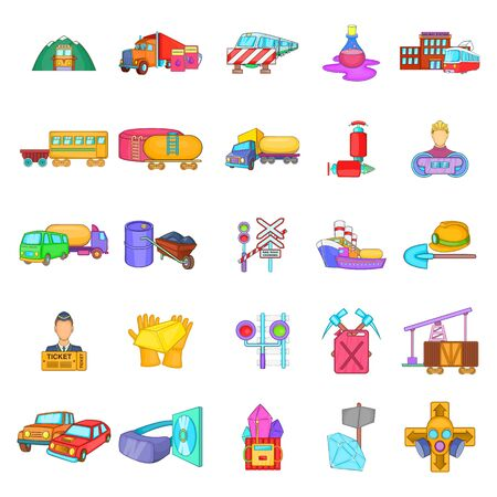 Shipping oil icons set, cartoon style