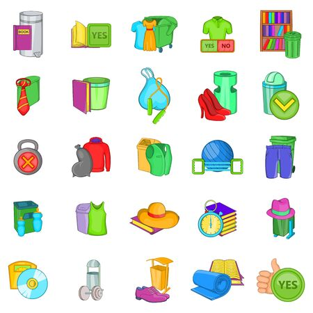 Eco recycling icons set, cartoon style
