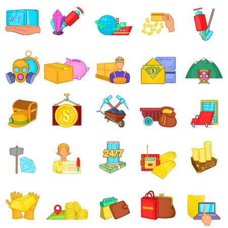 Mining money icons set, cartoon style