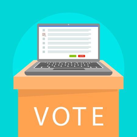 Online laptop vote concept banner. Flat illustration of online laptop vote vector concept banner for web design