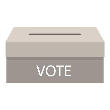 Grey vote box icon, flat style