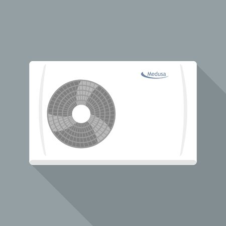 Smart fan conditioner icon, flat style