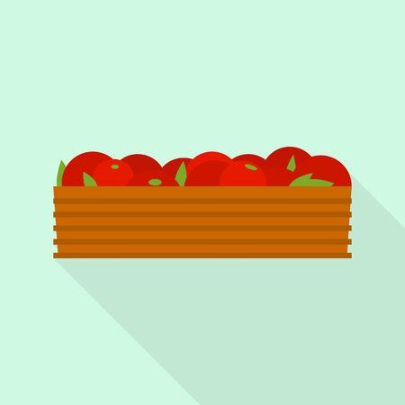 Box of tomato icon, flat style Archivio Fotografico - 129887580