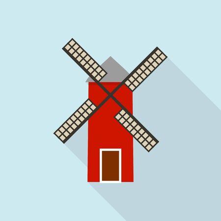 Windmill icon, flat style Archivio Fotografico - 129887583