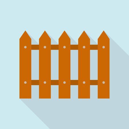 Home wood fence icon, flat style