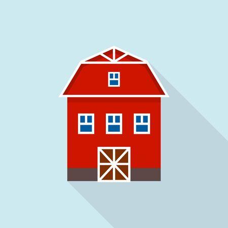 Farm barn icon, flat style Illustration
