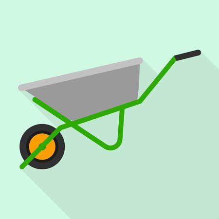 Wheelbarrow icon, flat style Иллюстрация