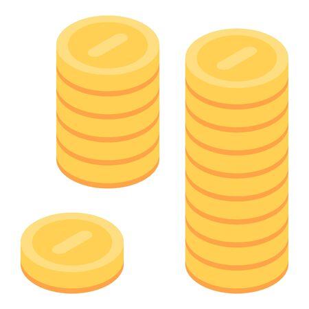 Coins stack icon, isometric style Illusztráció