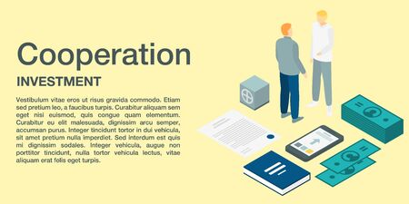Cooperation investment concept banner, isometric style