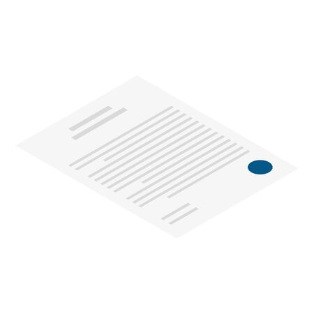 Contract paper icon. Isometric of contract paper vector icon for web design isolated on white background
