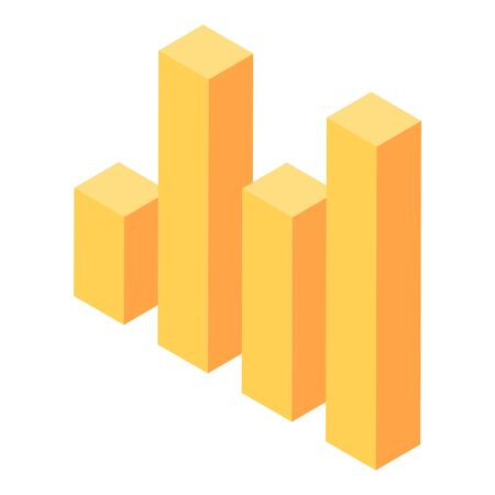 Yellow graph bar icon, isometric style