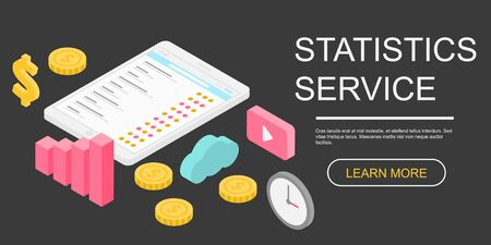 Statistics service concept banner. Isometric illustration of statistics service vector concept banner for web design