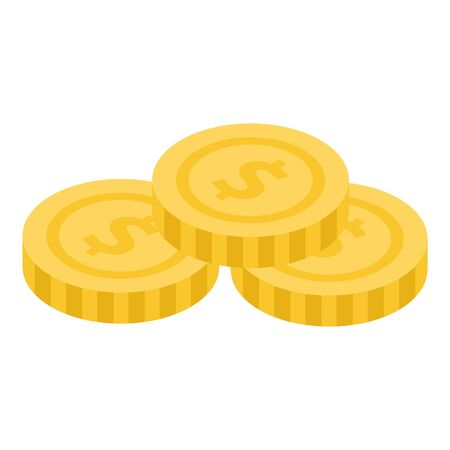 Coins stack icon, isometric style Ilustrace