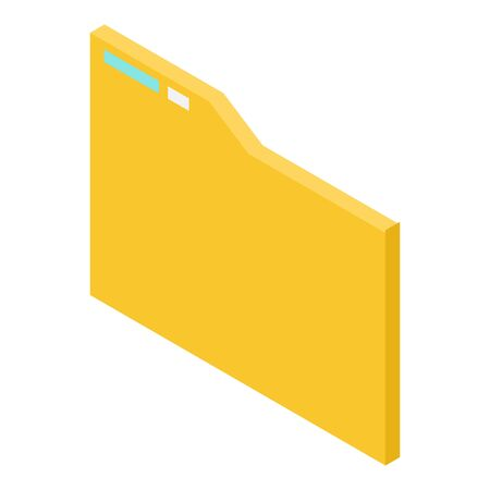 Yellow file folder icon, isometric style Stock Illustratie