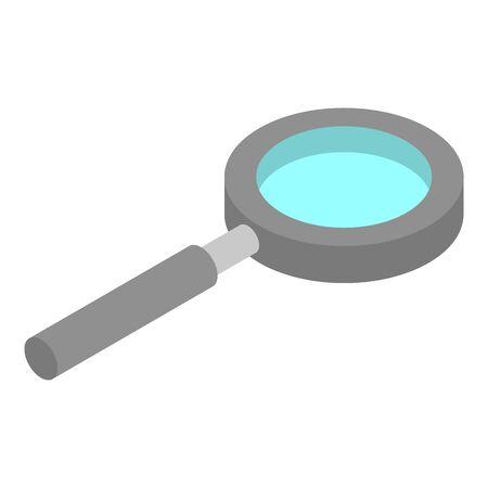 Metal magnify glass icon, isometric style Ilustracja