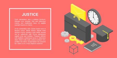 Justice concept banner. Isometric illustration of justice vector concept banner for web design 向量圖像