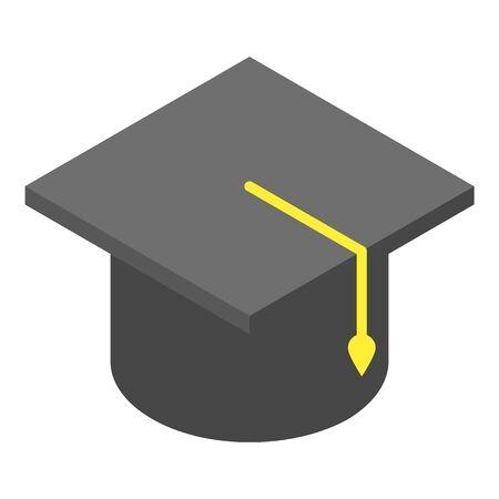 Academic cap icon, isometric style Иллюстрация