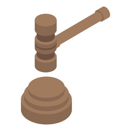 Judicial hammer icon, isometric style Иллюстрация