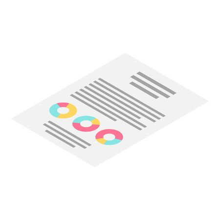 Statistic paper icon, isometric style  イラスト・ベクター素材