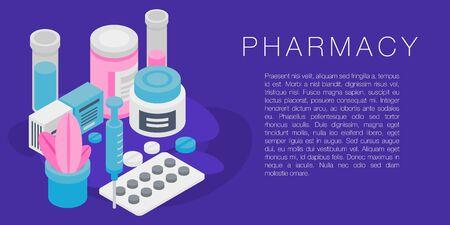 Pharmacy concept banner, isometric style Çizim