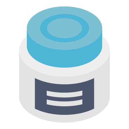 Plastic jar with pills icon, isometric style