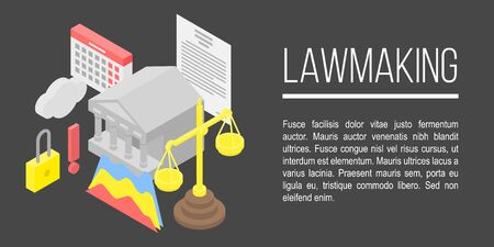 Lawmaking concept banner, isometric style
