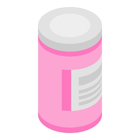 Plastic bottle with pills icon, isometric style Иллюстрация