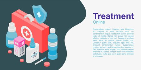 Treatment concept banner, isometric style