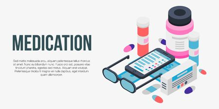 Medication concept banner, isometric style Imagens - 129887912