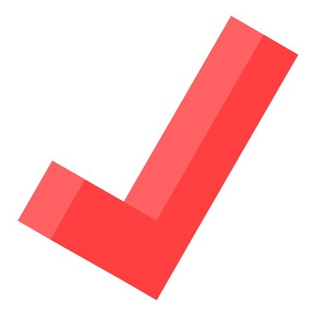 Red checkmark icon, isometric style 向量圖像