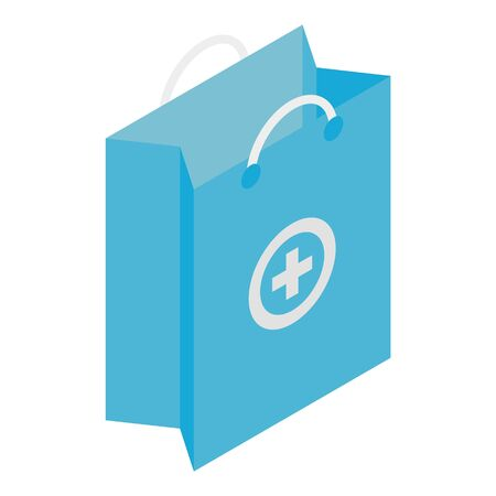 Pharmacy shopping bag icon, isometric style