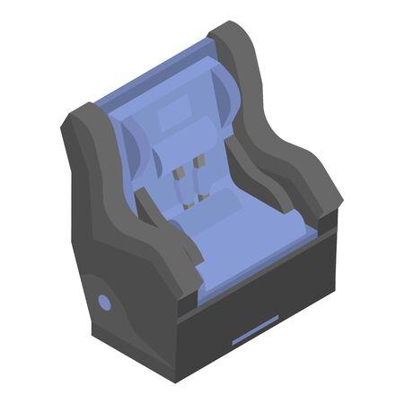 Blue child car seat icon, isometric style