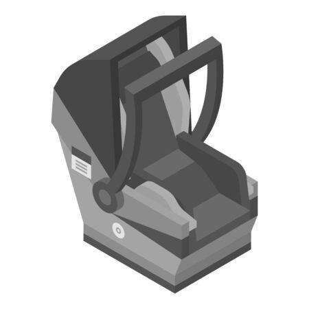 Gray child car seat icon, isometric style