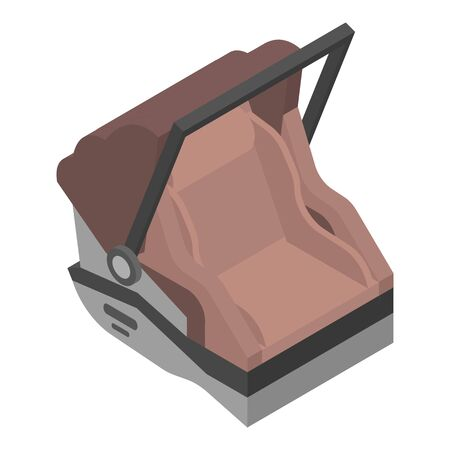 Brown baby car seat icon, isometric style