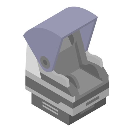 Baby car seat icon, isometric style