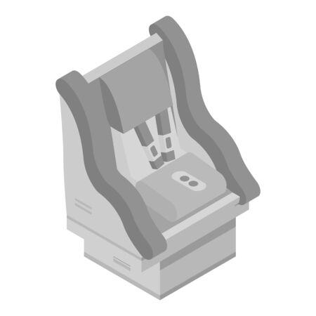 Modern child car seat icon, isometric style