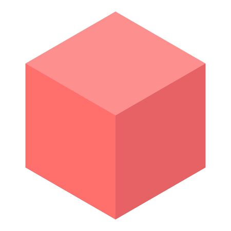 Red cube icon, isometric style Illustration