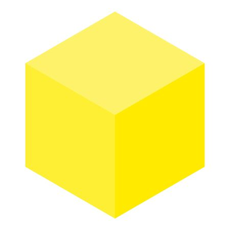 Yellow cube icon, isometric style