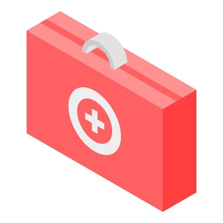 Red first aid kit icon, isometric style Иллюстрация
