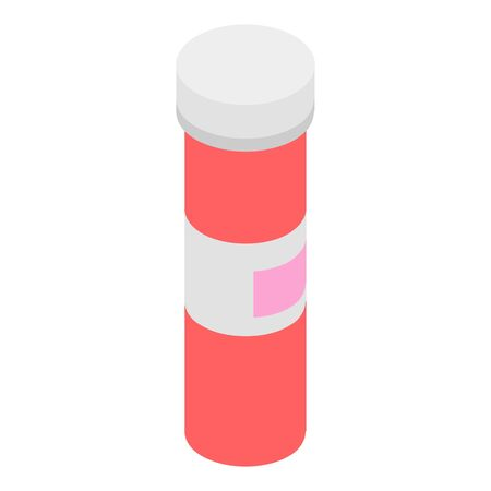 Red tube of aspirin icon, isometric style