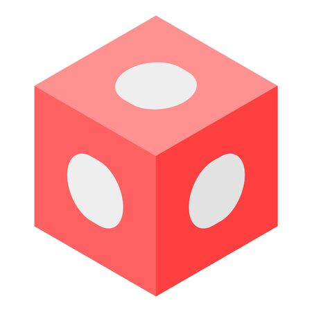 Red cube with white dots icon. Isometric of red cube with white dotsvector icon for web design isolated on white background Illustration